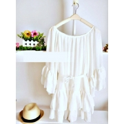 Flare Ruffle Sleeve Design Chiffon Women Blouse