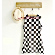 Women Black and White Plaid Design Dress